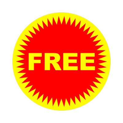 pricetag free red burst sticker
