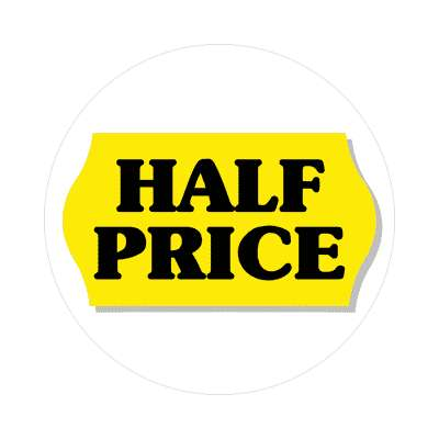 pricetag half price sticker