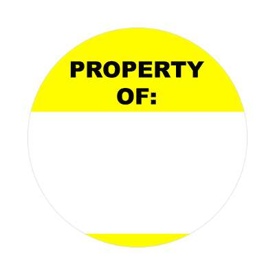 property of bright yellow fill in nametag sticker