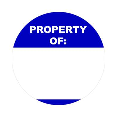 property of deep blue fill in nametag sticker