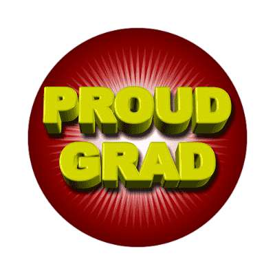 proud grad red rays sticker