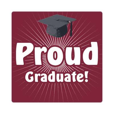 proud graduate rays graduation cap deep plum sticker