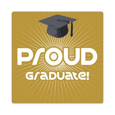 proud graduate rays graduation cap light brown sticker