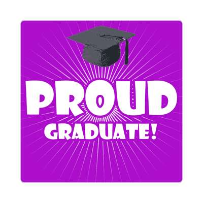 proud graduate rays graduation cap purple sticker