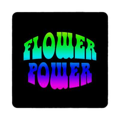 rainbow hippy black flower power magnet