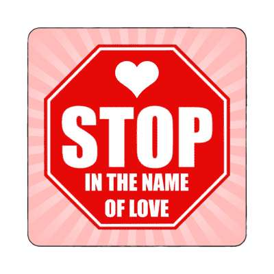 rays pink stop in the name of love stopsign magnet