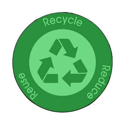 recycle reduce reuse symbol dark green magnet
