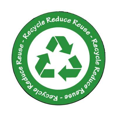 recycle reduce reuse white dark green symbol magnet