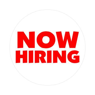 red now hiring white sticker