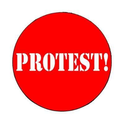 red protest stencil magnet