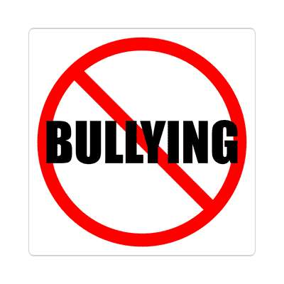 red slash no bullying sticker