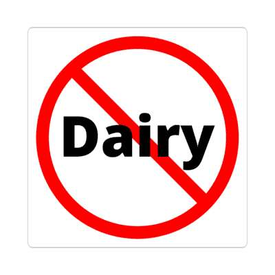 red slash no dairy sticker