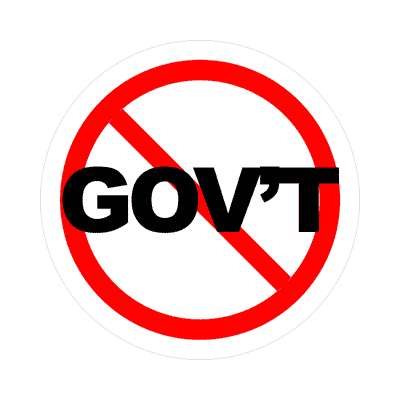 red slash no government sticker