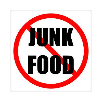 red slash no junk food sticker