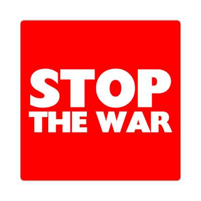 red stop the war sticker