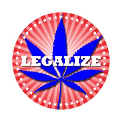 red white blue legalize marijuana sticker