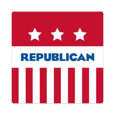 republican red stripes stars sticker