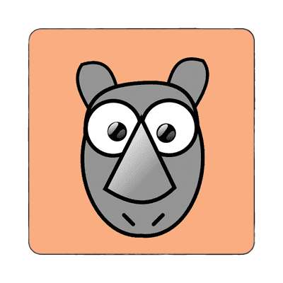 rhino cartoon cute animal magnet