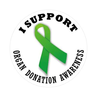 ribbon i support organ donation awareness sticker