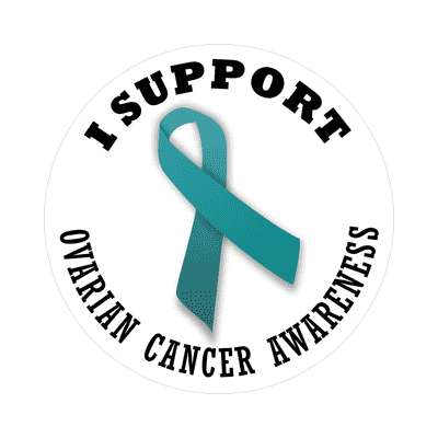 ribbon i support ovarian cancer awareness sticker