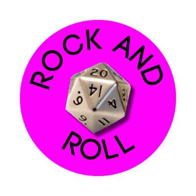 rock and roll dice dnd rpg sticker