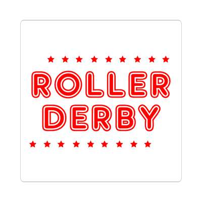 roller derby classic white stars sticker