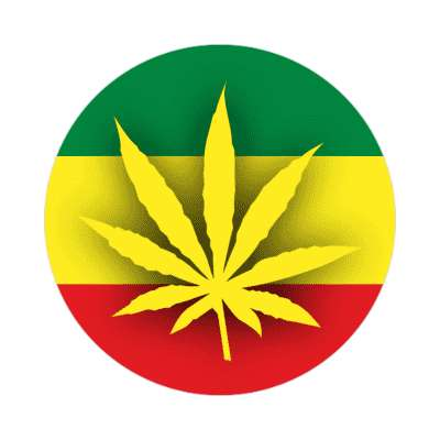shadow weed leaf rasta flag sticker