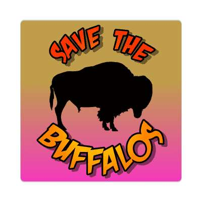 silhouette animal save the buffalos sticker