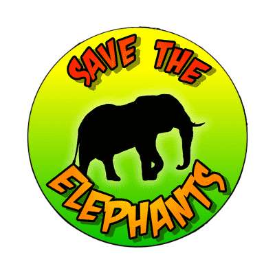silhouette animal save the elephants magnet