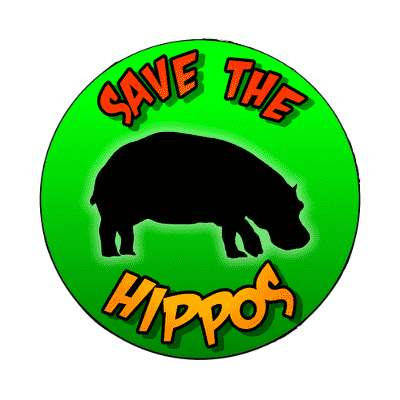 silhouette animal save the hippos magnet