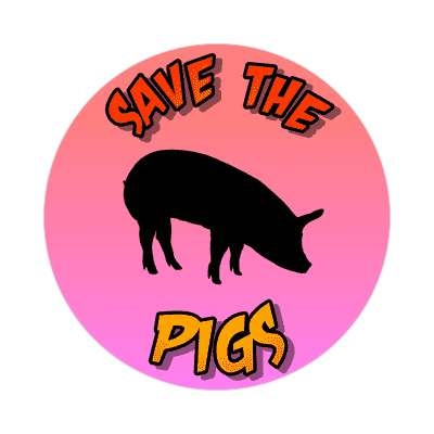 silhouette animal save the pigs sticker