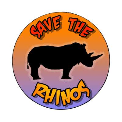 silhouette animal save the rhinos magnet