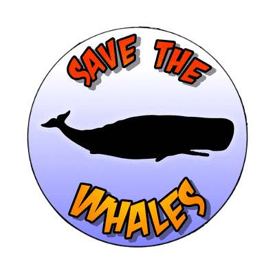 silhouette animal save the whales magnet