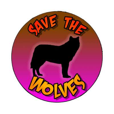 silhouette animal save the wolves magnet