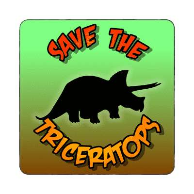 silhouette dinosaur save the triceratops magnet