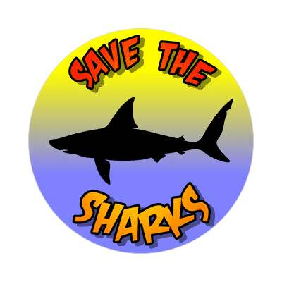silhouette fish save the sharks sticker
