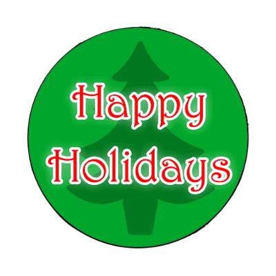 silhouette happy holidays christmas tree magnet