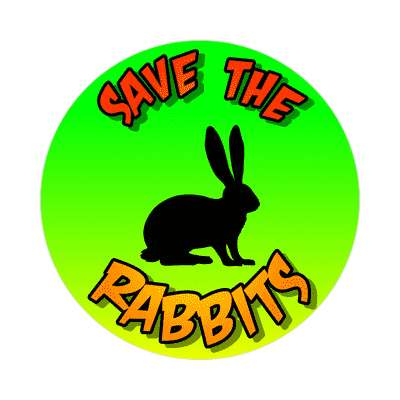 silhouette rodent save the rabbits sticker