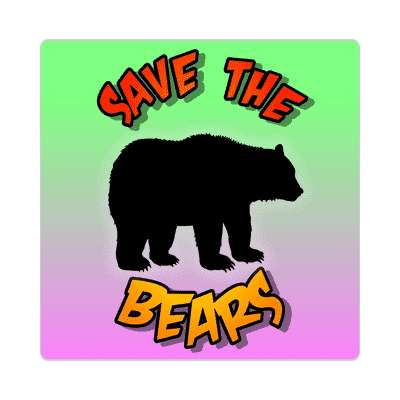silhouette save the bears sticker