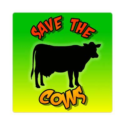 silhouette save the cows sticker