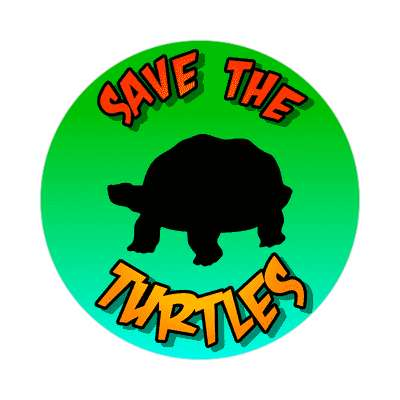 silhouette save the turtles sticker