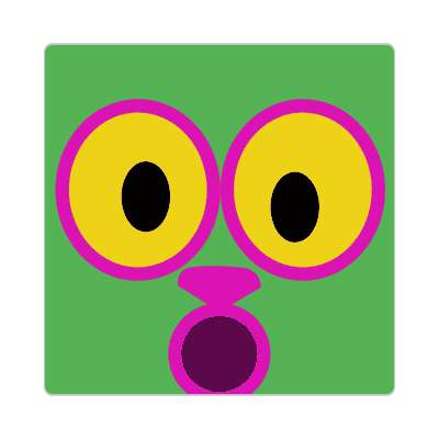 smiley open mouth animal green surprised sticker