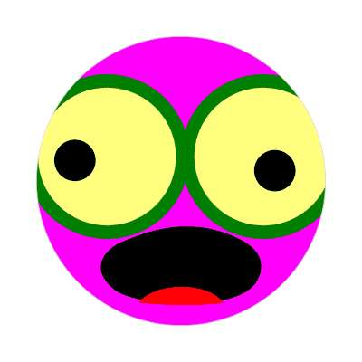 smiley open mouth tongue googly eyes magenta sticker