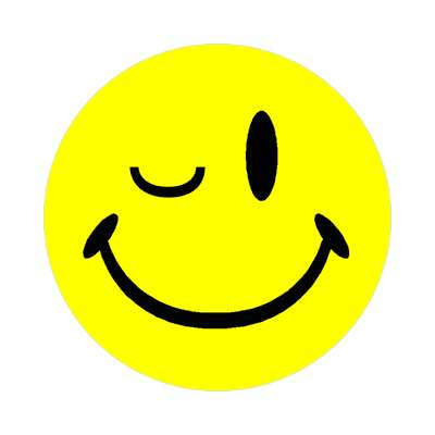smiley winking classic yellow sticker