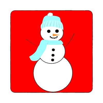snowman bright red magnet