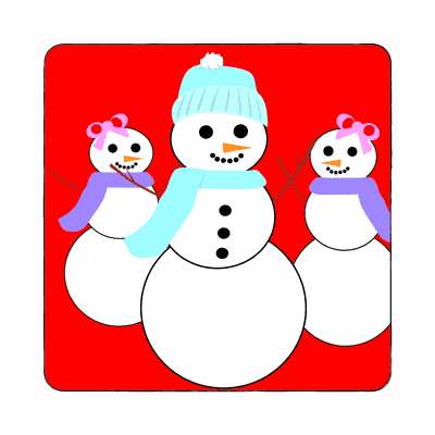 snowman three bright red magnet