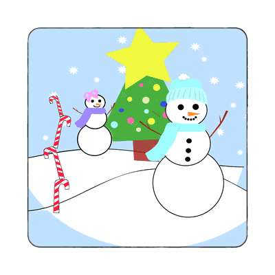 snowmen outside candycanes star christmas tree decorations magnet