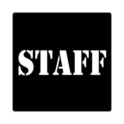 staff stencil black tall sticker
