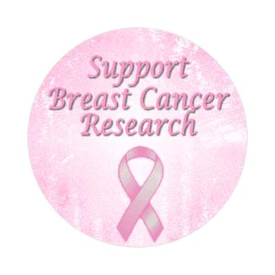 support breast cancer research ribbon awareness pink sticker