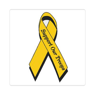 support our troops awareness ribbon yellow sticker